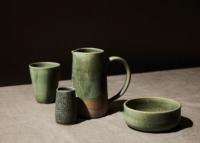 mixed green ceramics still life for mark gambino pottery