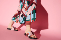 colourful shoes on pink background