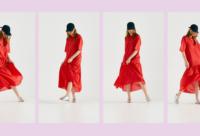 fashion lookbook model wearing red dress shot in studio